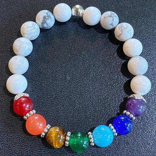 White Howlite Chakra Healing Bracelet