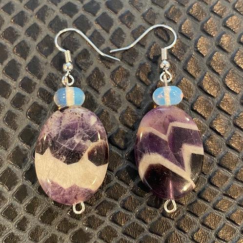 Chevron Amethyst & Opalite Earrings