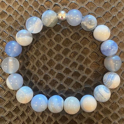 10mm Blue Striped Agate Healing Bracelet