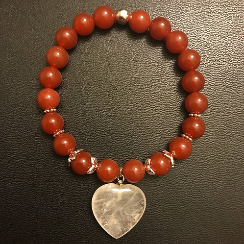 Red Agate & Crystal Heart Healing Bracelet