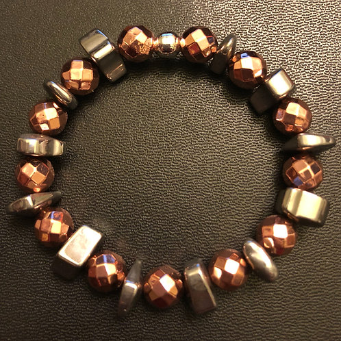 Faceted Rose Gold Hematite and Silver Hematite Healing Bracelet
