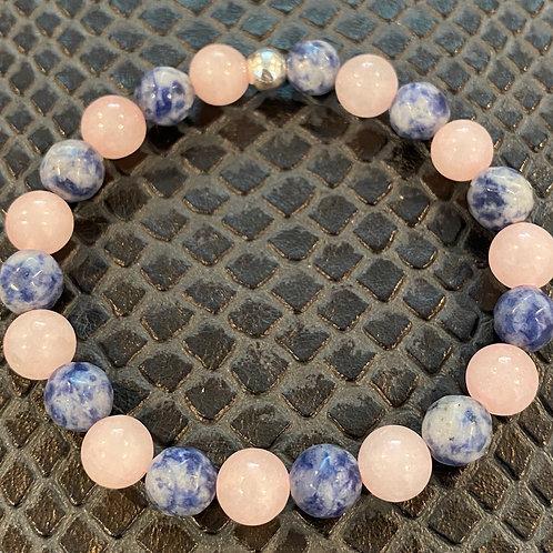Faceted Sodalite and Rose Quartz Healing Bracelet