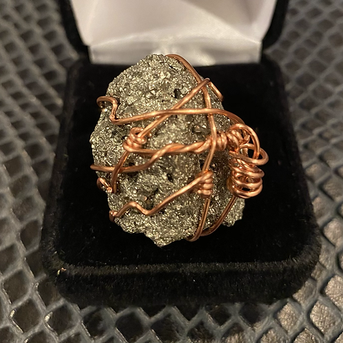 Pyrite & Copper Wrapped Ring