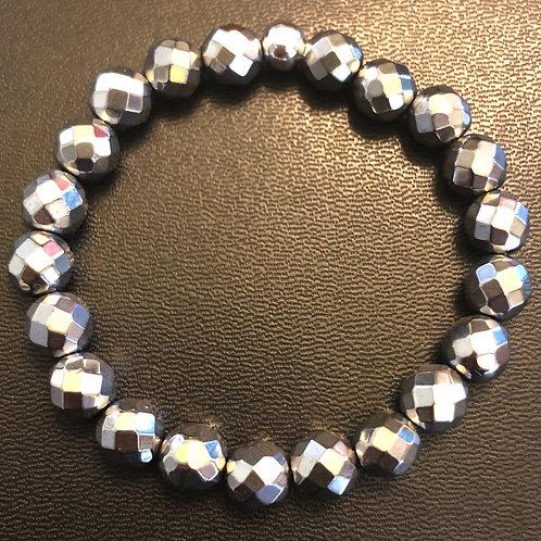 Faceted Silver Hematite Healing Bracelet