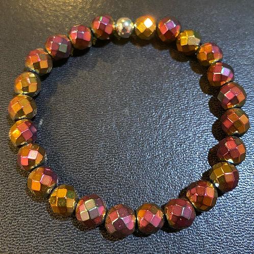 Faceted Pink Gold Hematite Healing Bracelet