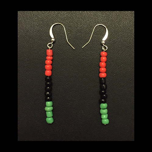 Red, Black, and Green Bead Earrings