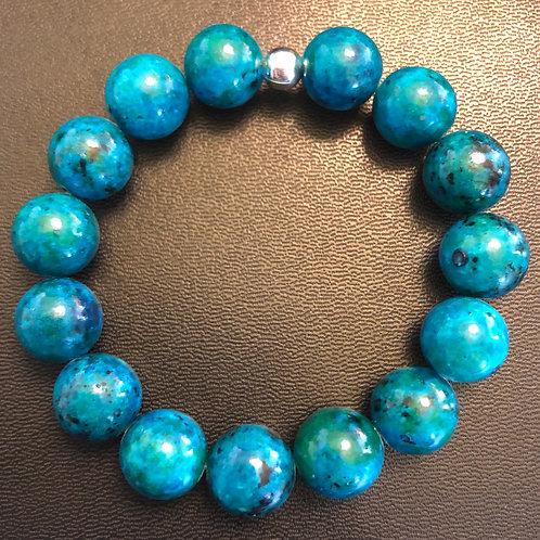 12mm Blue Green Azurite Healing Bracelet