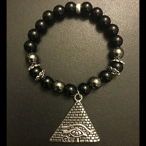 Third Eye Triangle & Black Onyx & Hematite Bracelet
