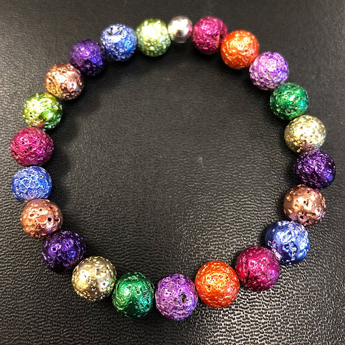 Multicolored Metallic Lava Stone Healing Bracelet