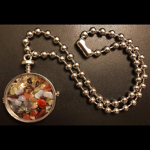 Multi-Stone Glass Locket Choker Necklace
