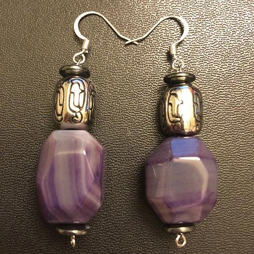 Agate and Hematite Earrings