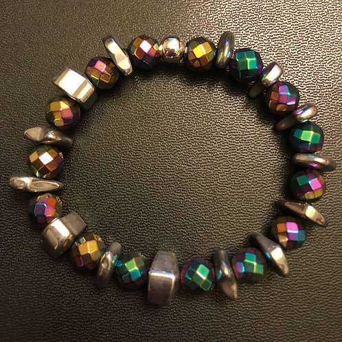 Faceted Rainbow Hematite Healing Bracelet