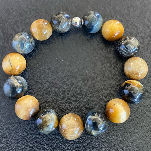 12mm Blue Yellow Tiger Eye Healing Bracelet