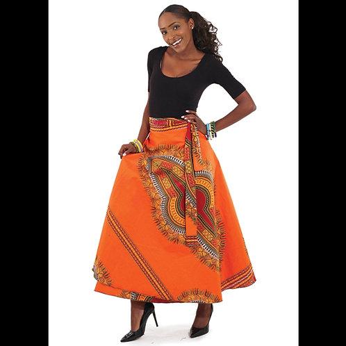 Traditional Orange Wrap Skirt