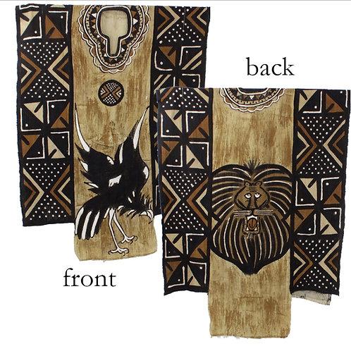 Lion Mudcloth Men's Robe (Black/Tan)