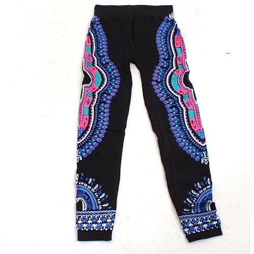 Black/Blue/Pink Dashiki Leggings