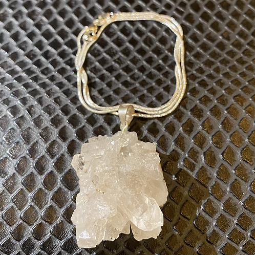 Clear Quartz Nodule 925 Sterling Silver Necklace #1