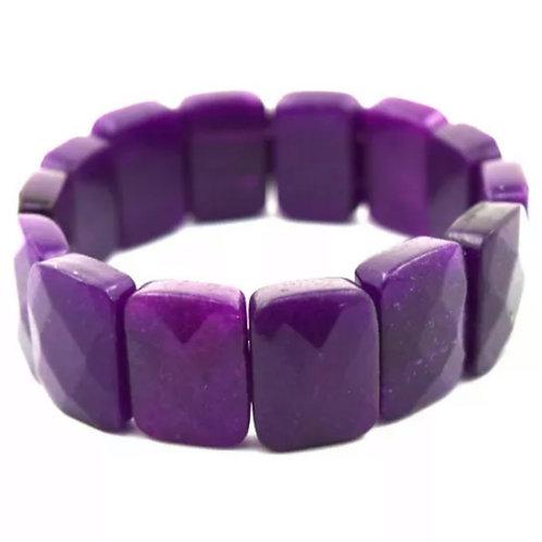 Purple Faceted Jade Stretch Bracelet