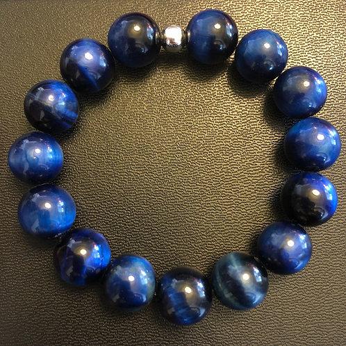 12mm Blue Tiger Eye Healing Bracelet