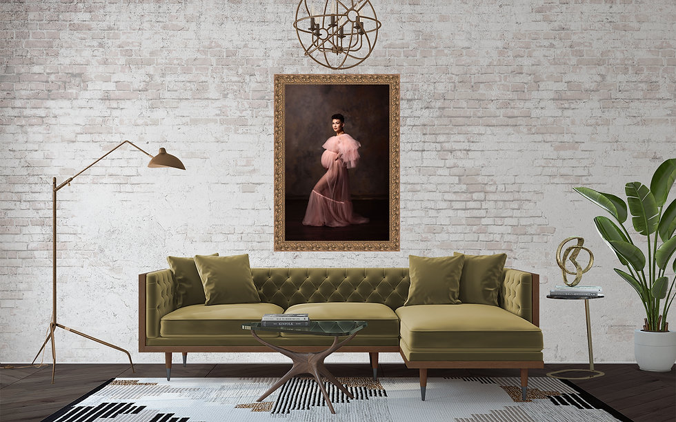A framed Guild Canvas hangs above a mid-century modern olive green sofa.