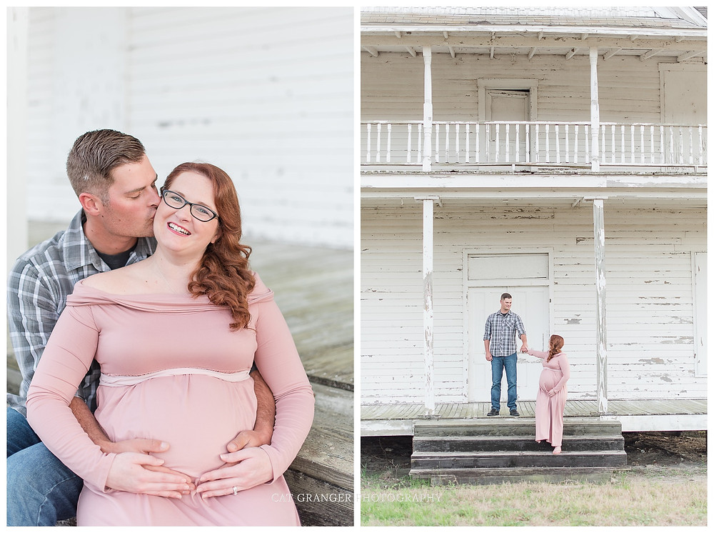 pink-maternity-gown-outdoor-pictures-barn-couple-outfit-cat-granger-photography-maryland-photographer