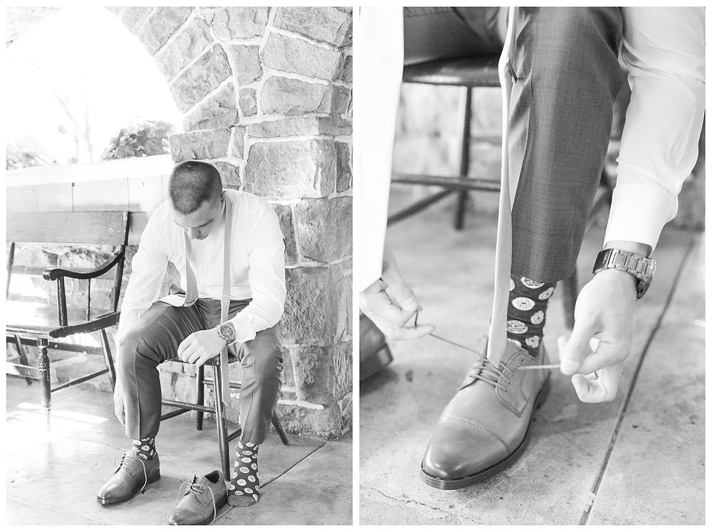 Historic-shady-lane-cat-granger-photography-groom-getting-ready-calvin-klein-mens-wearhouse-donut-socks
