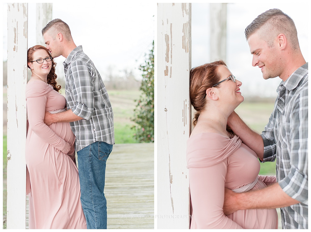 pink-maternity-gown-outdoor-pictures-barn-couple