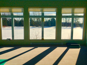 Winter sun shines through the studio window