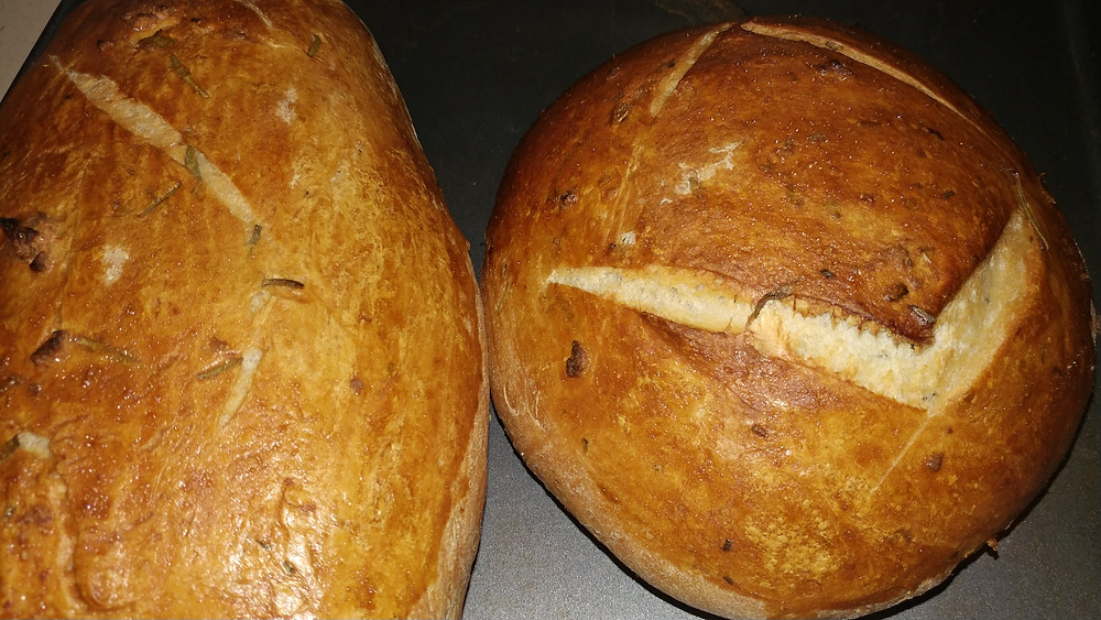 fresh sourdough bread cools after baking