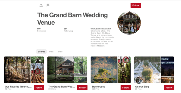pinterest post for the grand barn wedding venue
