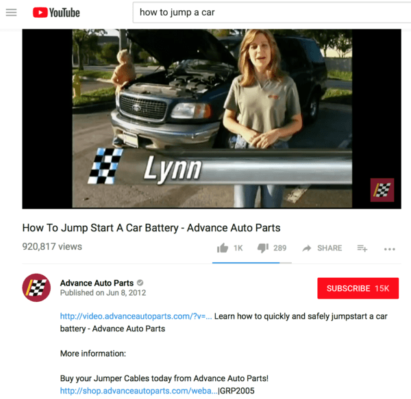 youtube post that is marketing how to jump a car