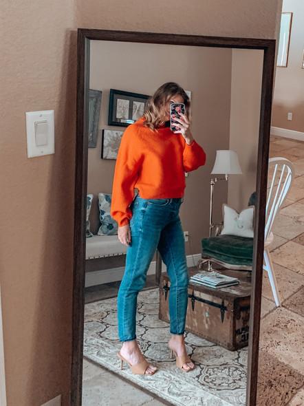 Fluffy balloon sleeve sweater in orange