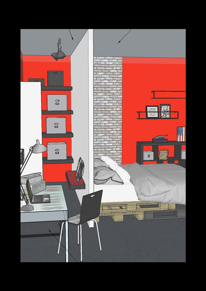 Chambre d'ado- Plan 3D