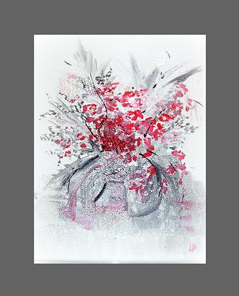 Bouquet abstrait rouge et gris - N° 053
