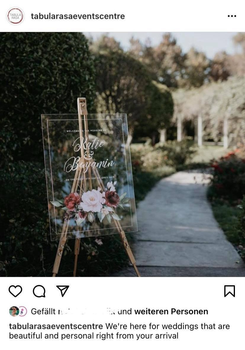 screenshot of an Instagram post from Tabula Rasa selling their personal service