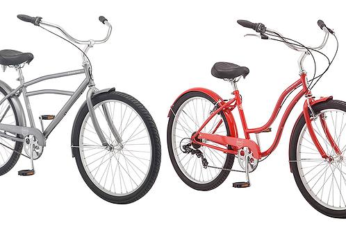 His and hers Schwinn adult beach cruiser bikes