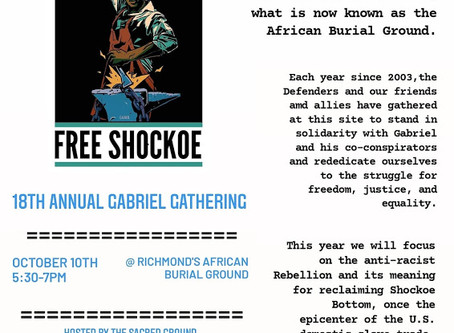 EVENT TONIGHT: Annual Gabriel Gathering at the African Burial Grounds