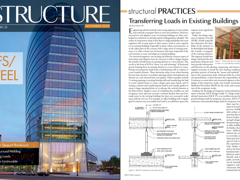 IN THE PRESS: Transferring Loads in Existing Buildings | STRUCTURE Magazine | Feb 2020