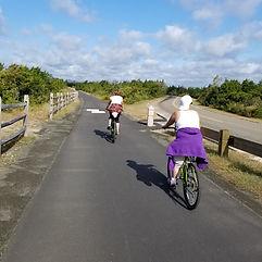 Biking on the beach trails with sober fr