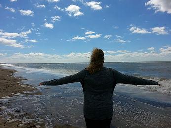 SOBER WOMAN AT THE BEACH