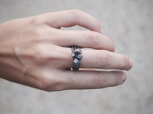 Gravel Rings - Set of 3 - Oxidised