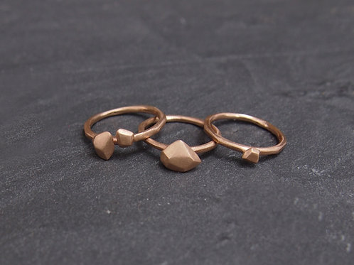 Gravel Rings - Set of 3 - Rose gold