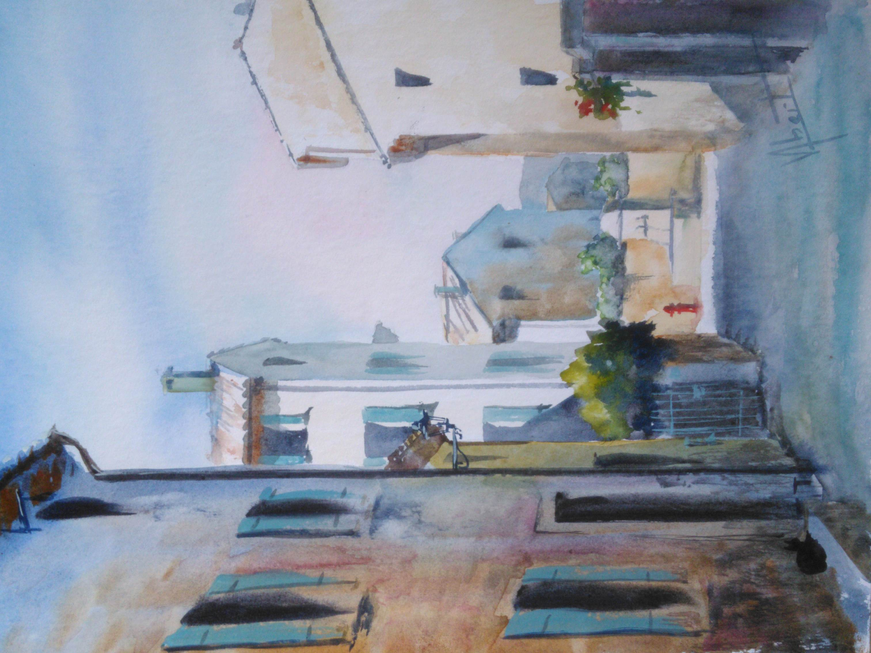 Véronique-Albert-Aquarelle-Rue-de-l'égli