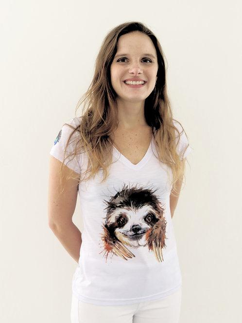 camiseta bicho-preguiça feminina