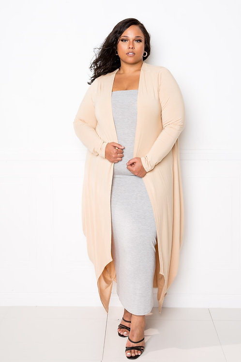 Cocoonly Style Waterfall Long Cardigan (Cream)