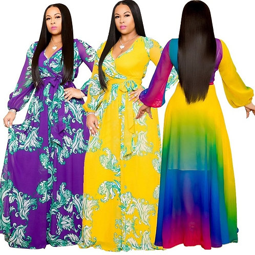 Women's Chiffon  Flower Print V-Neck  Long Elegant Casual Loose Dress  S-5XL