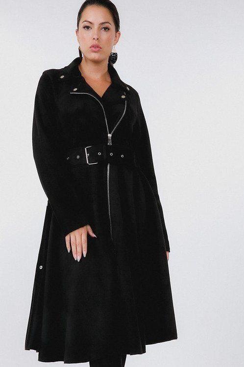 Stunning Suede Spring Coat (Black)