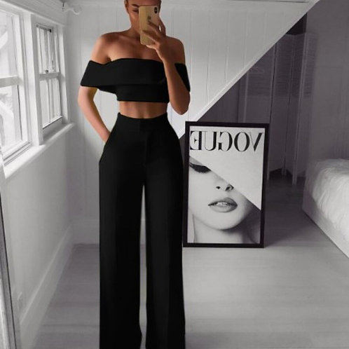 Two Pieces Set   Cropped Top + Loose Pants Sets