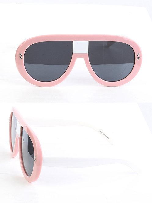 Curved & Chic Aviator Pink Sunglasses