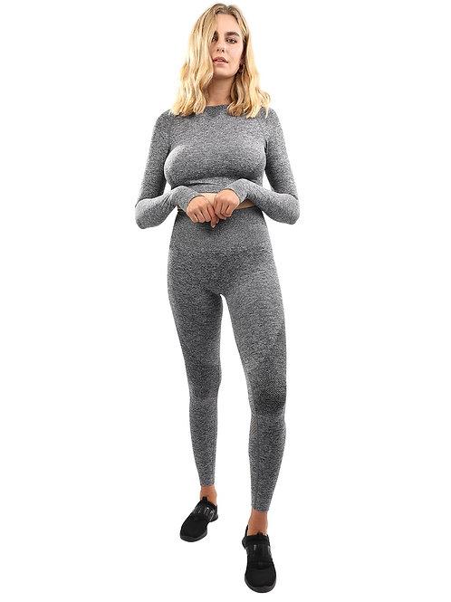 Cadrina Seamless Leggings & Sports Top Set - Grey